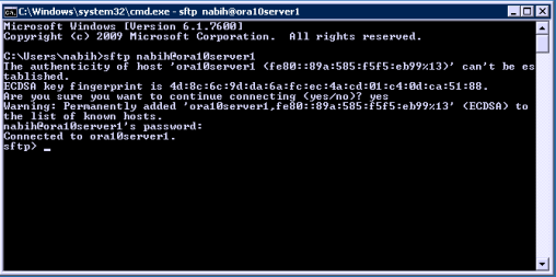 how to connect to sftp server from windows command prompt